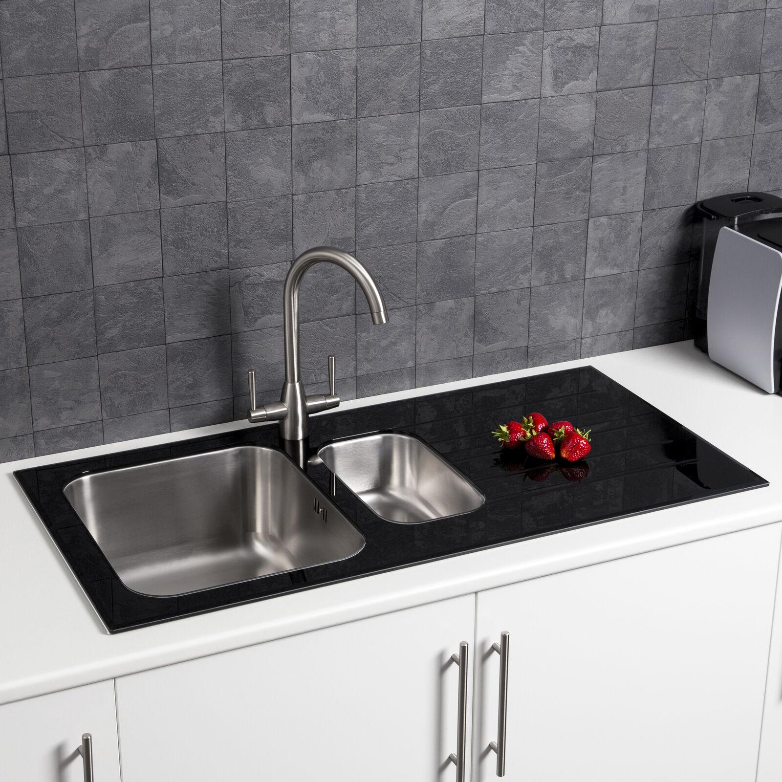 sauber ksink016b stainless steel 1 5 bowl kitchen sink 8mm black