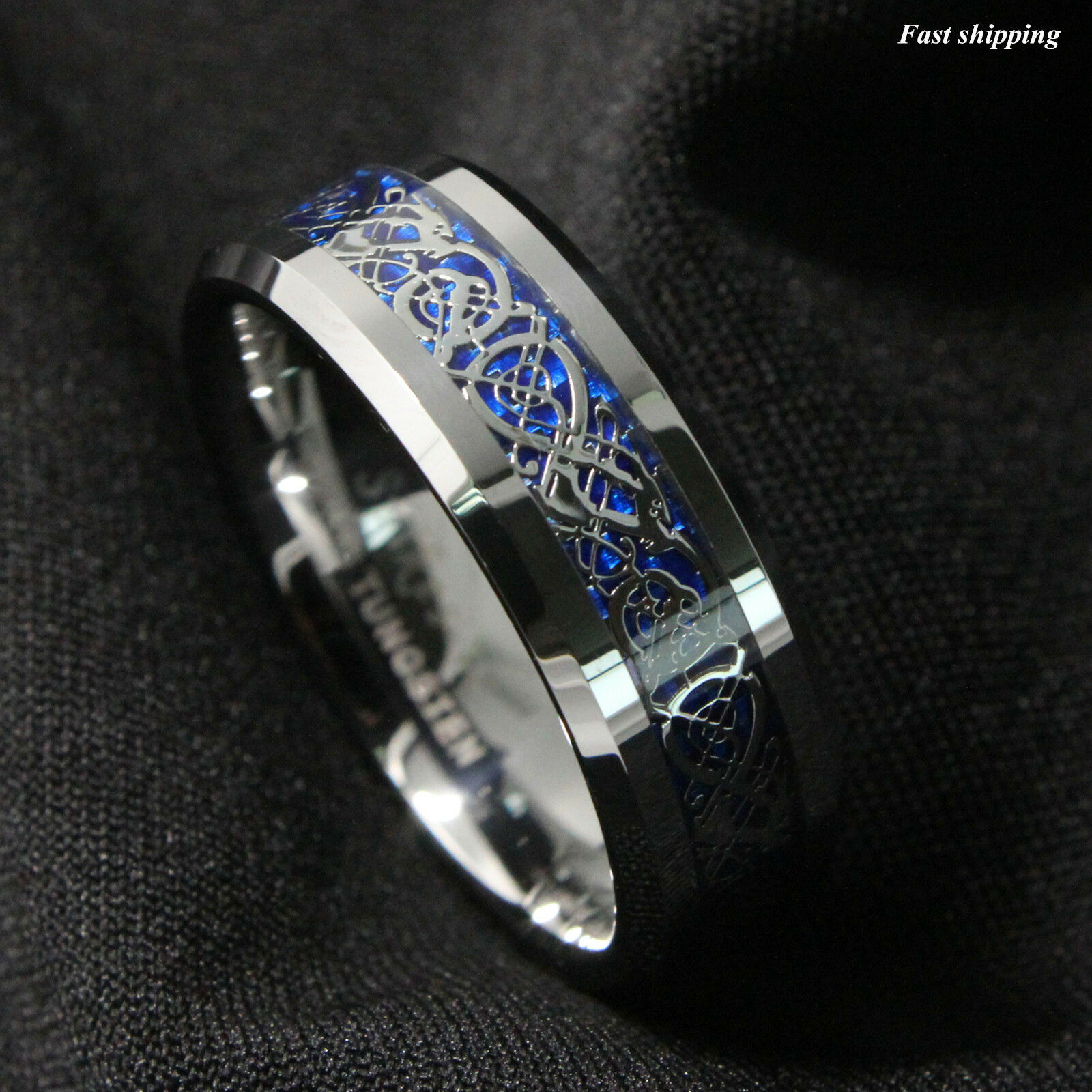 8Mm Silvering Celtic Dragon Tungsten Carbide Ring Mens
