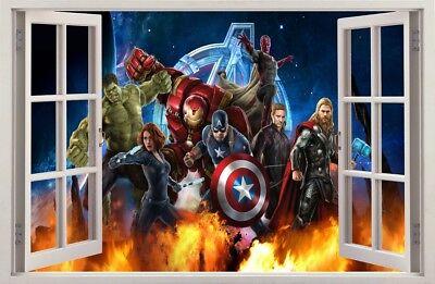 wandaufkleber fenster 3d avengers hulk cpt america wand aufkleber wandtattoo 76 ebay