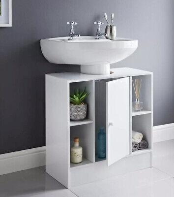 white under sink bathroom storage cabinet cupboard vanity unit with 4 shelves ebay