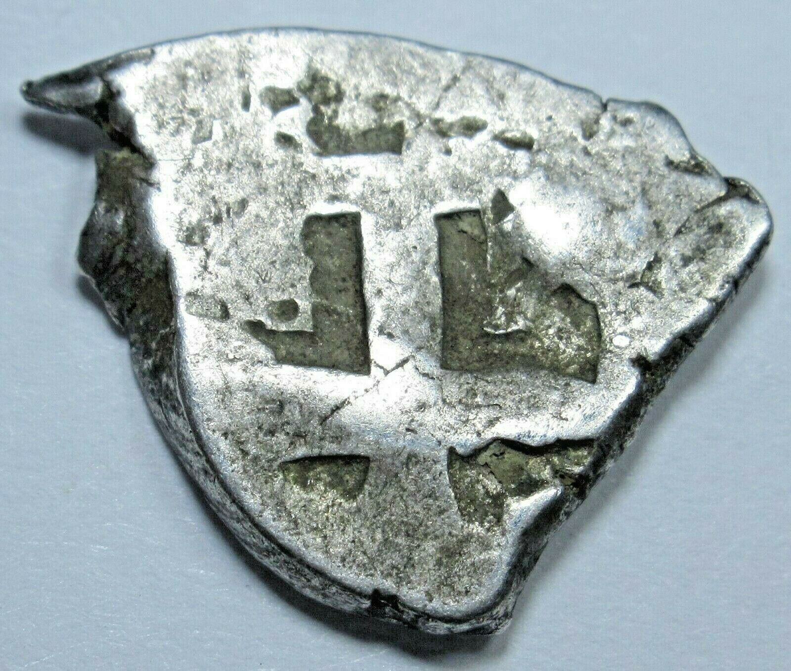 1700s Spanish Silver 1/2 Reales Piece of 8 Real Antique Pirate Treasure Cob Coin