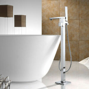 details about modern free standing bathtub faucet floor mounted tub filler hand shower chrome