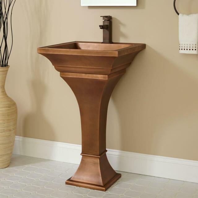signature hardware square smooth copper pedestal sink