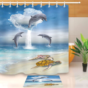 details about waterproof fabric jumping dolphin sea turtle shower curtain polyester bath mat