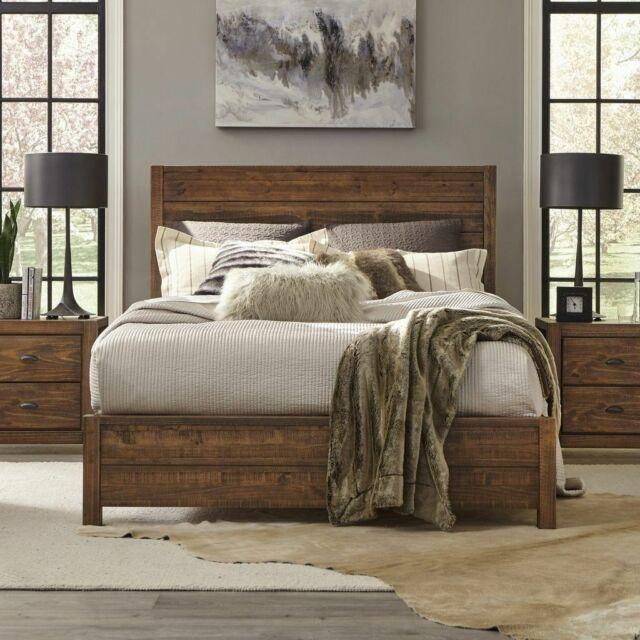 rustic platform bed frame king size with headboard bedroom solid wood walnut