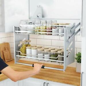 details about wall cabinet pull down dish rack 2 tier shelving system shelf kitchen width 36