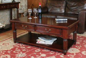 details about la roque traditional coffee table with drawers solid mahogany living furniture