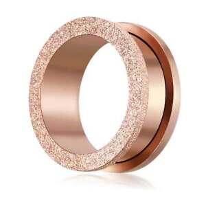 4-20mm Plug Flesh Tunnel Kristall rose gold Edelstahl Piercing