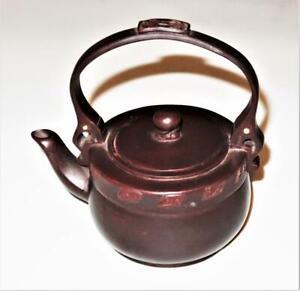 "Chinese Yixing Zisha Brown Clay Pottery Miniature Handled Teapot, 5"""