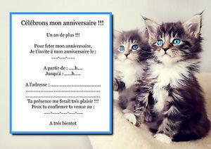 details sur 5 12 ou 14 cartes invitation anniversaire chat ref 36