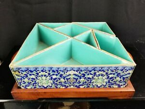 Antique Chinese Porcelain Serving Platter Tangram Puzzle On Wood Tray
