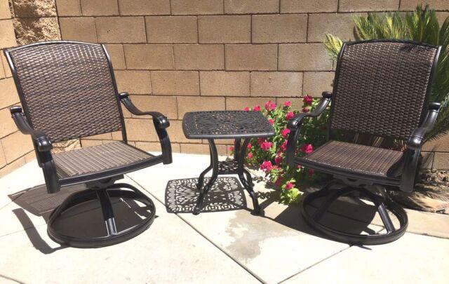 patio bistro set swivel rocker chairs end table 3 piece outdoor cast aluminum