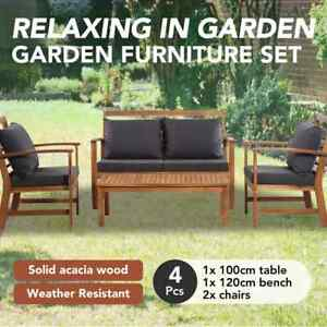 details about vidaxl 4 piece solid acacia wood garden lounge set with cushions patio set