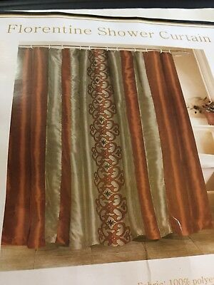 beatrice florentine embroidered fabric shower curtain brown green striped new ebay