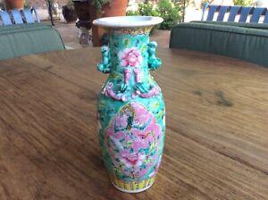Strait Chinese porcelain baluster vase with Kilin handles