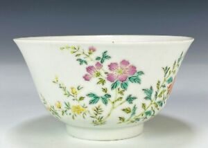 Antique Chinese Porcelain Bowl with Hand Painted Flowers and Mark