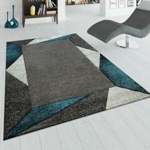 details sur tapis de salon moderne a poils ras effet 3d bordure geometrique turquoise gris
