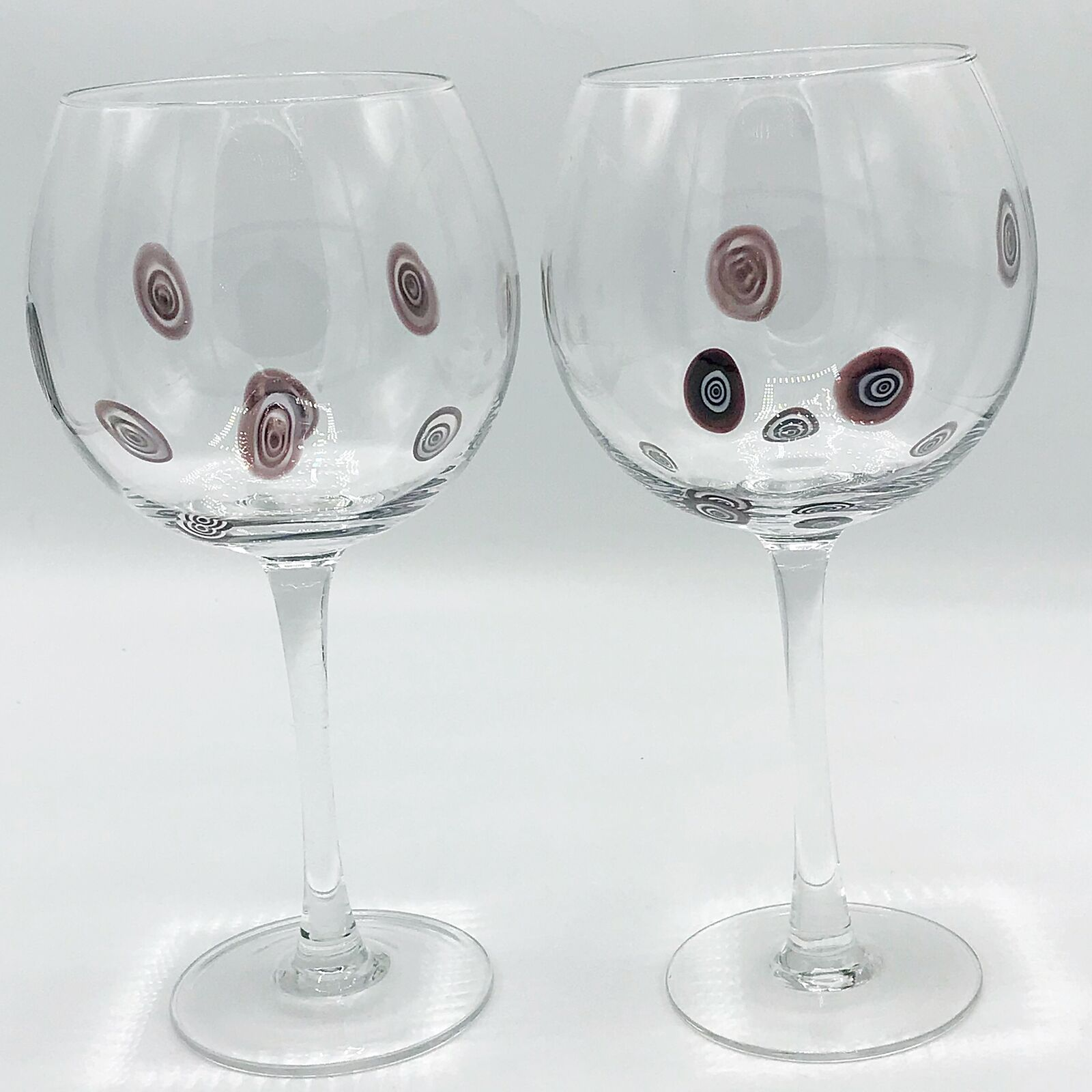 Set Of Two Purple And White Swirl Large Wine Glasses For Sale Online