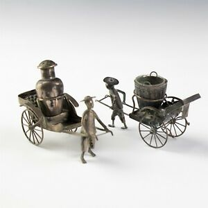 Vintage Pair Chinese Export Silver Figural Rickshaw Condiment Pepper Holder SAM