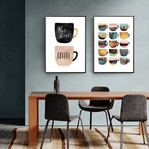 Colorful Cups Modern Kitchen Wall Decor 2 Piece Wall Art Canvas Print Unframed Ebay