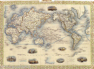 1800 S MAP WORLD MERCATORS PROJECTION USA REPRO POSTER   eBay Image is loading 1800 039 S MAP WORLD MERCATORS PROJECTION USA