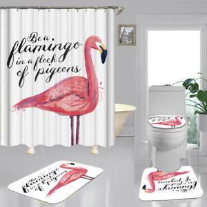 details about pink flamingo art shower curtain bath mat toilet cover rug bathroom decor