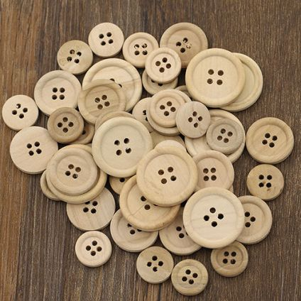 50-Pcs-Mixed-Wooden-Buttons-Natural-Color-Round-4-Holes-Sewing-Scrapbooking-DIY