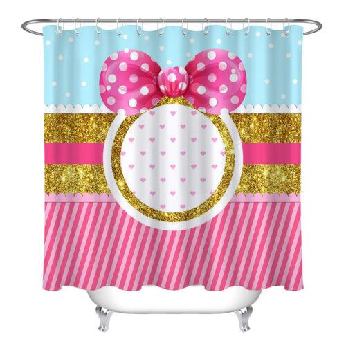 pink gold decor girl bow fabric bathroom shower curtain set w 12 hooks 72x72 home garden garden curtains