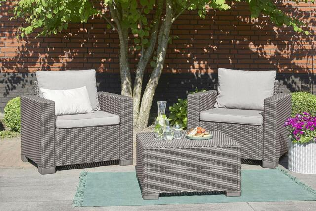 brown 3 piece patio bistro set wicker resin outdoor living home furniture