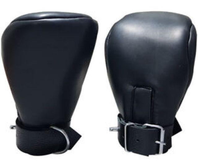 Image Is Loading Bondage Fist Mitts Gloves Sheep Black Leather Padded