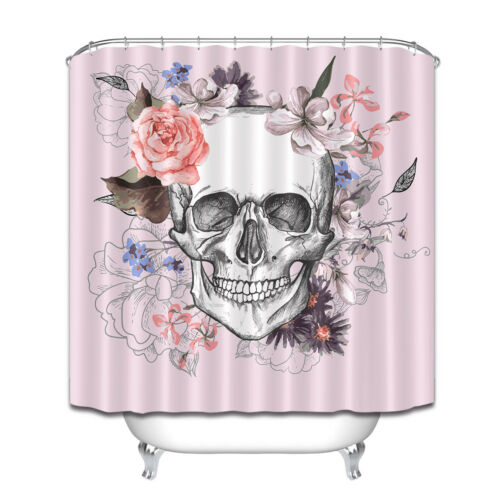 skull and flowers day of the dead shower curtain waterproof bathroom mat hooks bathroom supplies accessories garden curtains
