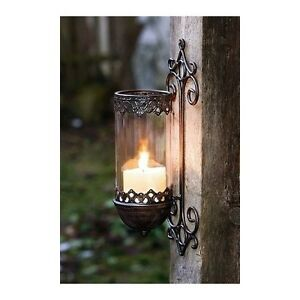 VINTAGE IRON GARDEN PILLAR CANDLE HOLDER METAL WALL ... on Wall Mounted Candle Holder id=86612