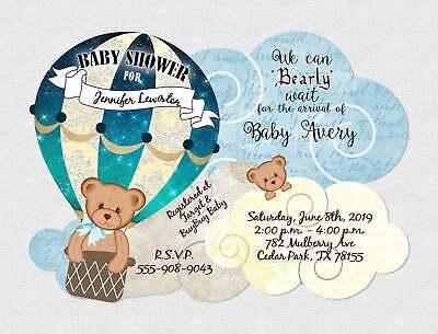 baby shower invitations boy birthday invitation invites teddy bear balloon qty20 ebay