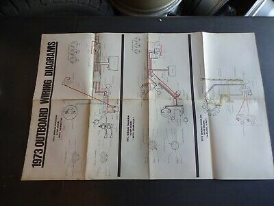 1973 johnson evinrude outboard motor wiring diagram poster chart 25 40 50  hp  ebay