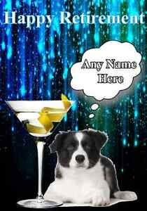 Happy Retirement Border Collie Dog Puppy Card Code10