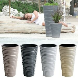 details about large tall sand effect flower plant pot indoor outdoor garden patio planters new