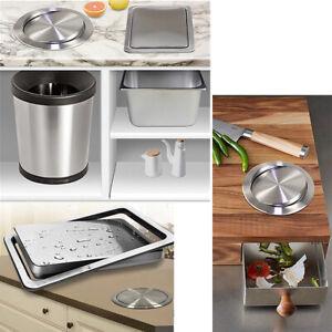 details sur couvercle encastre acier inoxydable sur plan de travail pour poubelle de cuisine