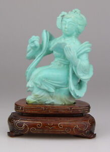 Antique Chinese Carved Turquoise Statue Lady Figure Wood Stand 19th C.