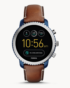 Fossil Q Gen 3 Explorist Luggage Leather Touchscreen SmartWatch 46mm FTW4004