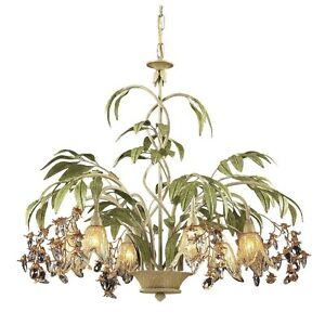 Image Is Loading 6 Light Tropical Chandelier Lighting Fixture Cream Amber
