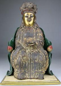 ANTIQUE CHINESE BRONZE STATUE FIGURE BUDDHA KWANYIN LADY LION GILT - Ming 17TH