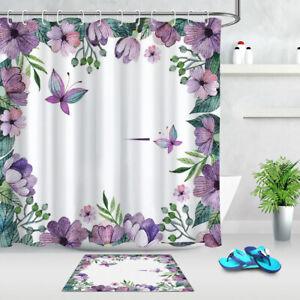 details about waterproof fabric watercolor purple flower butterfly shower curtain set bathroom