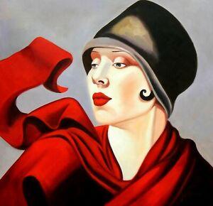 details sur portrait art deco de femme avec chapeau d apres lempicka tableau peinture hui