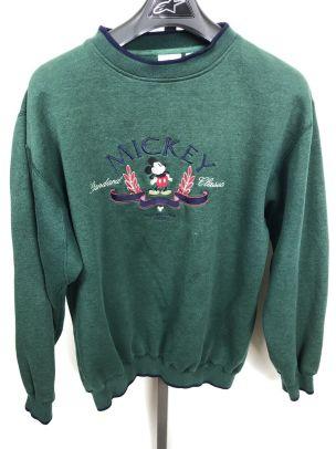 Image 1 - A1 Vintage Classic Original Mickey Mouse Sweatshirt USA Made Disney XL Green