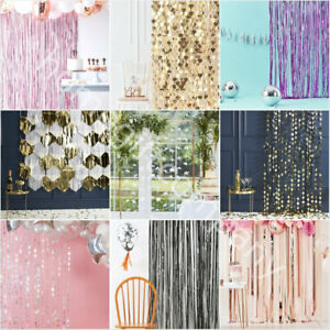 details about fringe foil curtain photo booth backdrop wedding birthday hen party decorations