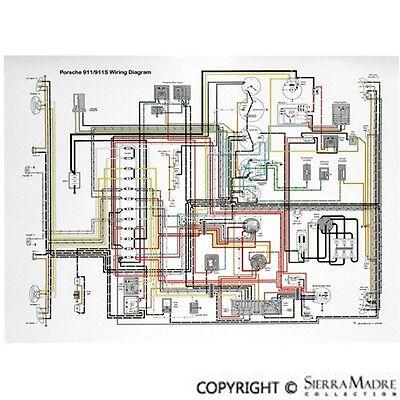 full color wiring diagram porsche 911 6468  ebay