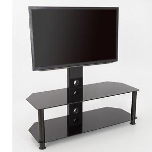 details sur verre noir meuble tv avec tv mount support mural pour 32 65 pouces 114 cm afficher le titre d origine