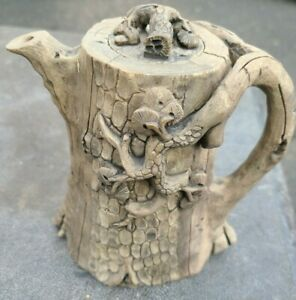 Antique Asian Chinese Tree Branch Pottery Teapot