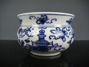 Rare Fine Chinese Porcelain B/W Censer-Antique Decor-19th C.