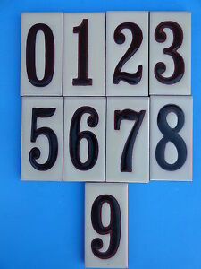 details about ceramic art tile house address numbers 2 x4 black numbers on cream background